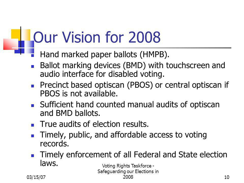 03/15/07 Voting Rights Taskforce - Safeguarding our Elections in 200810 Our Vision for 2008 Hand marked paper ballots (HMPB).