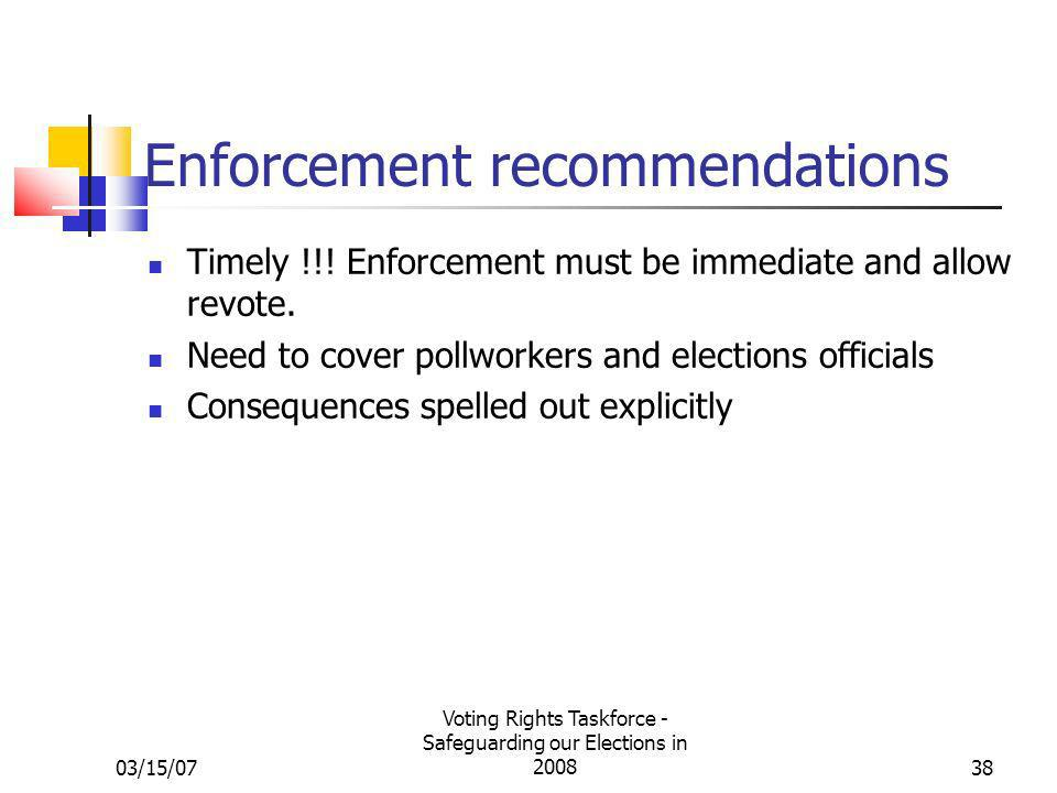 03/15/07 Voting Rights Taskforce - Safeguarding our Elections in 200838 Enforcement recommendations Timely !!.