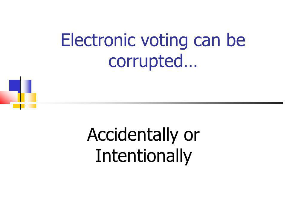 Electronic voting can be corrupted… Accidentally or Intentionally