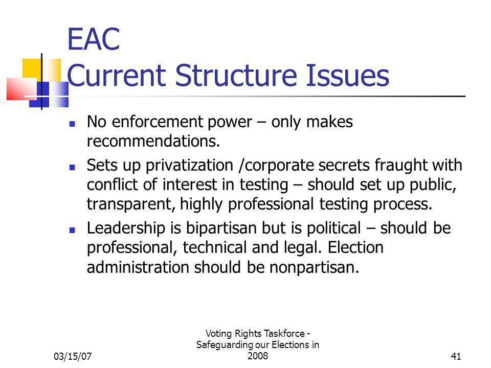 03/15/07 Voting Rights Taskforce - Safeguarding our Elections in 200841 EAC Current Structure Issues No enforcement power – only makes recommendations.