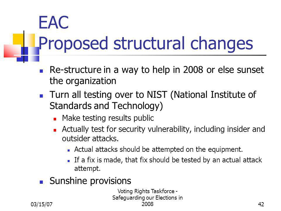 03/15/07 Voting Rights Taskforce - Safeguarding our Elections in 200842 EAC Proposed structural changes Re-structure in a way to help in 2008 or else sunset the organization Turn all testing over to NIST (National Institute of Standards and Technology) Make testing results public Actually test for security vulnerability, including insider and outsider attacks.