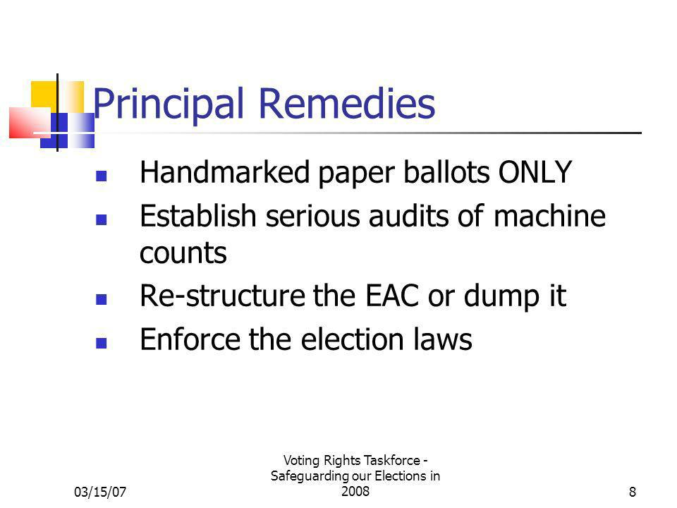 03/15/07 Voting Rights Taskforce - Safeguarding our Elections in 20088 Principal Remedies Handmarked paper ballots ONLY Establish serious audits of machine counts Re-structure the EAC or dump it Enforce the election laws