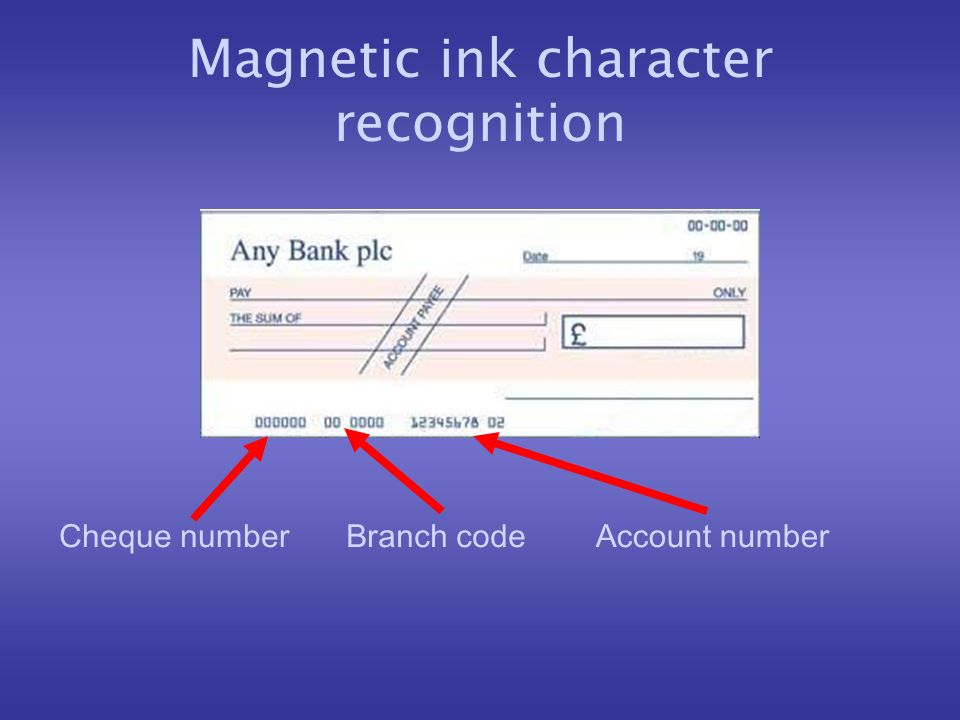 Magnetic ink character recognition Branch codeCheque numberAccount number
