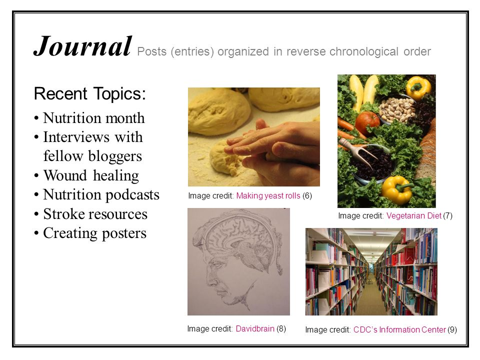 Journal Posts (entries) organized in reverse chronological order Recent Topics: Nutrition month Interviews with fellow bloggers Wound healing Nutrition podcasts Stroke resources Creating posters Image credit: Making yeast rolls (6) Image credit: CDCs Information Center (9) Image credit: Davidbrain (8) Image credit: Vegetarian Diet (7)