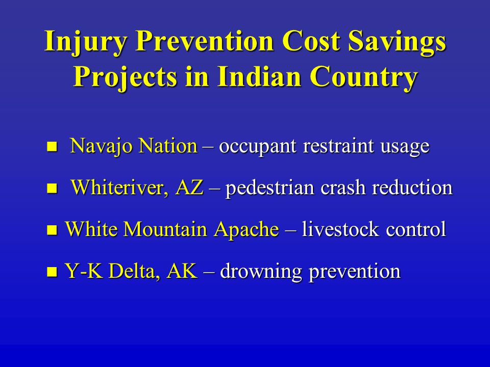 Injury Prevention Cost Savings Projects in Indian Country Navajo Nation – occupant restraint usage Navajo Nation – occupant restraint usage Whiteriver, AZ – pedestrian crash reduction Whiteriver, AZ – pedestrian crash reduction White Mountain Apache – livestock control White Mountain Apache – livestock control Y-K Delta, AK – drowning prevention Y-K Delta, AK – drowning prevention