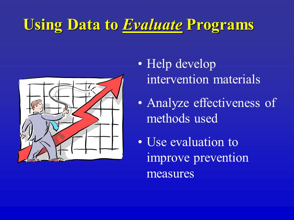 Using Data to Evaluate Programs Help develop intervention materials Analyze effectiveness of methods used Use evaluation to improve prevention measures