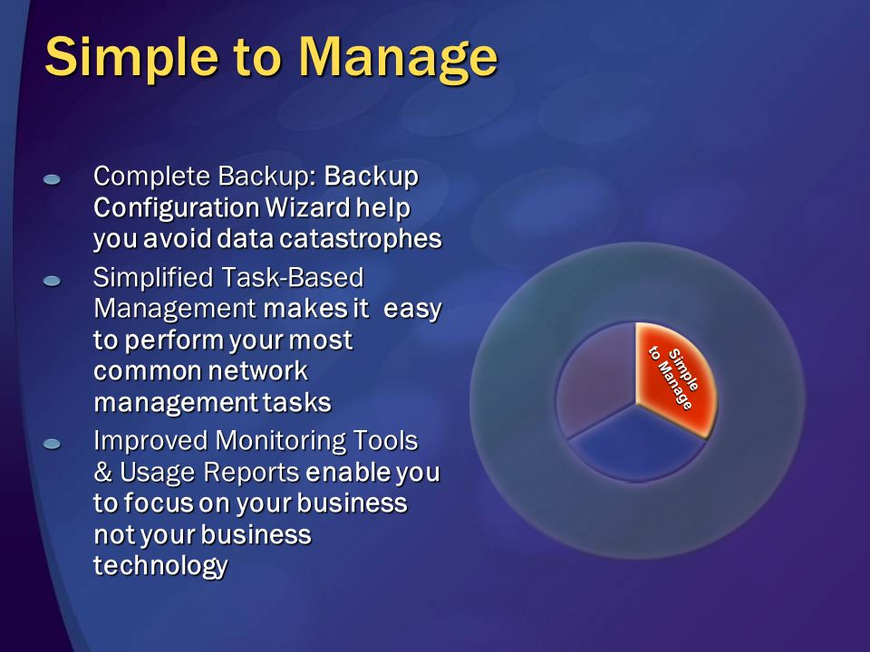 Simple to Manage Complete Backup: Backup Configuration Wizard help you avoid data catastrophes Simplified Task-Based Management makes it easy to perform your most common network management tasks Improved Monitoring Tools & Usage Reports enable you to focus on your business not your business technology Simple to Manage