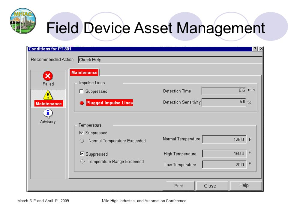 Field Device Asset Management March 31 st and April 1 st, 2009Mile High Industrial and Automation Conference