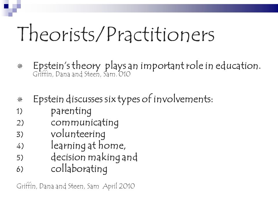 Theorists/Practitioners Epsteins theory plays an important role in education.