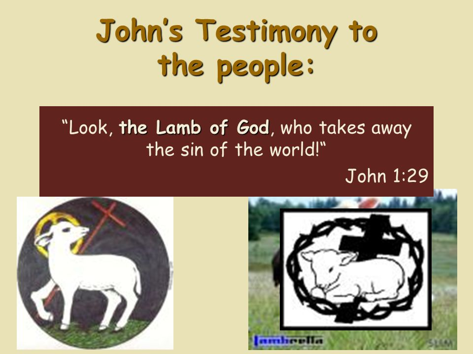 Johns Testimony to the people: the Lamb of God Look, the Lamb of God, who takes away the sin of the world.