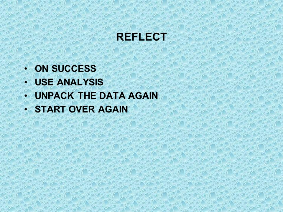 REFLECT ON SUCCESS USE ANALYSIS UNPACK THE DATA AGAIN START OVER AGAIN