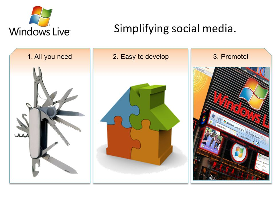 Simplifying social media. 1. All you need2. Easy to develop3. Promote!
