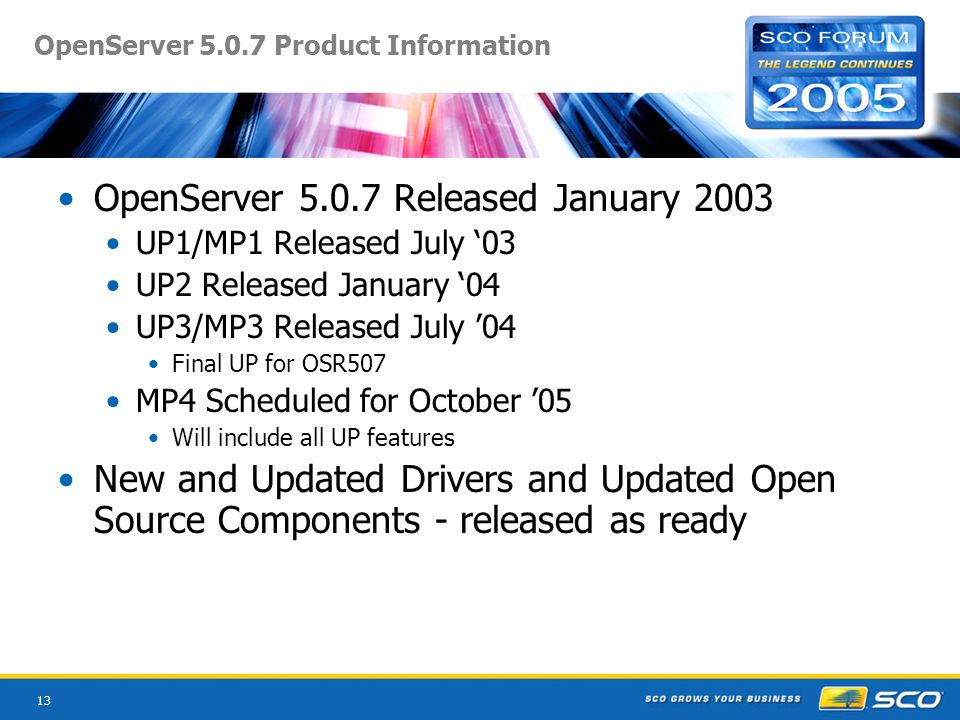 13 OpenServer Product Information OpenServer Released January 2003 UP1/MP1 Released July 03 UP2 Released January 04 UP3/MP3 Released July 04 Final UP for OSR507 MP4 Scheduled for October 05 Will include all UP features New and Updated Drivers and Updated Open Source Components - released as ready