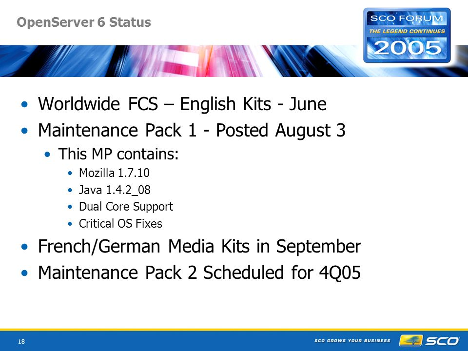 18 OpenServer 6 Status Worldwide FCS – English Kits - June Maintenance Pack 1 - Posted August 3 This MP contains: Mozilla Java 1.4.2_08 Dual Core Support Critical OS Fixes French/German Media Kits in September Maintenance Pack 2 Scheduled for 4Q05