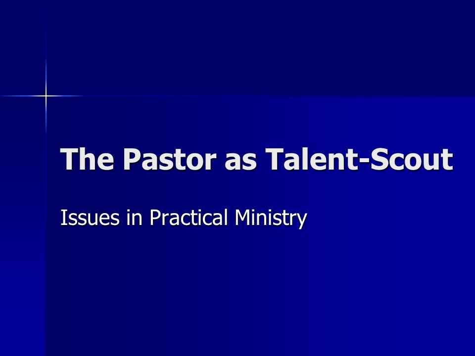 The Pastor as Talent-Scout Issues in Practical Ministry