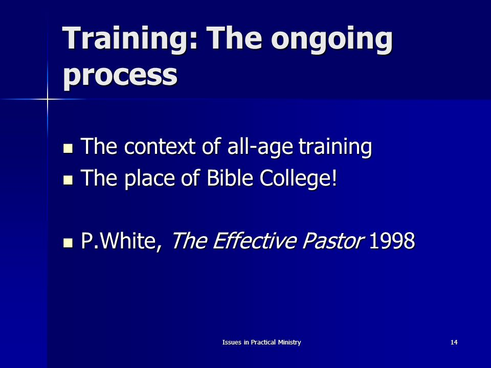 Issues in Practical Ministry14 Training: The ongoing process The context of all-age training The context of all-age training The place of Bible College.