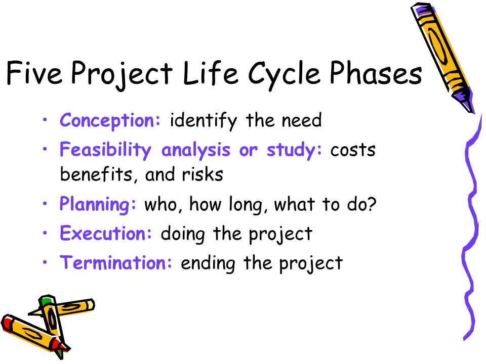 Five Project Life Cycle Phases Conception: identify the need Feasibility analysis or study: costs benefits, and risks Planning: who, how long, what to do.