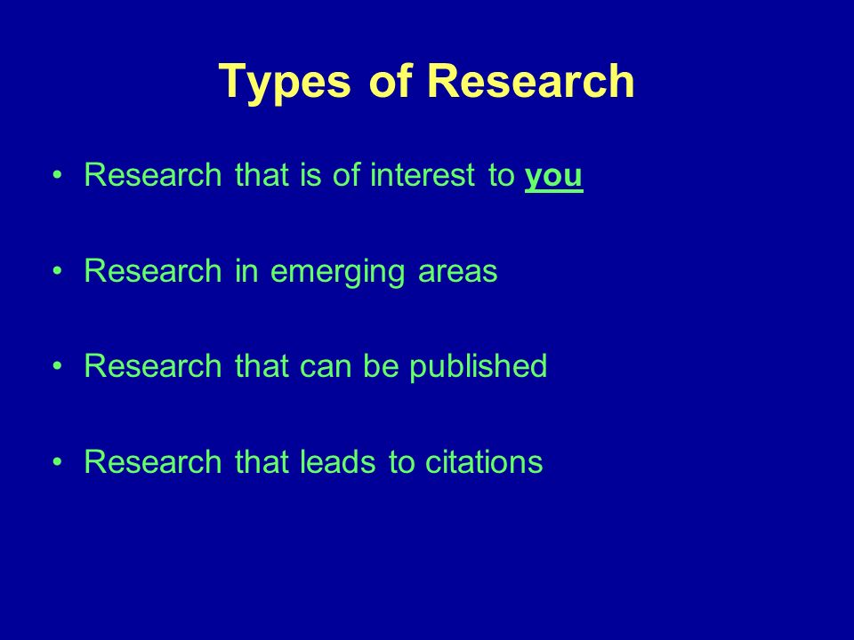 Types of Research Research that is of interest to you Research in emerging areas Research that can be published Research that leads to citations