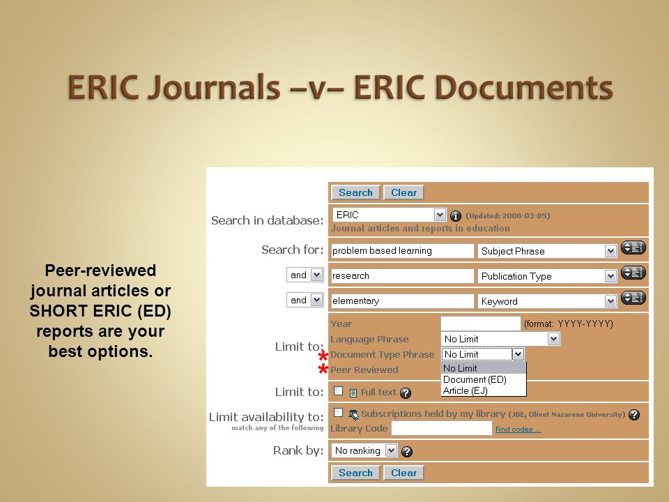 Peer-reviewed journal articles or SHORT ERIC (ED) reports are your best options. * *
