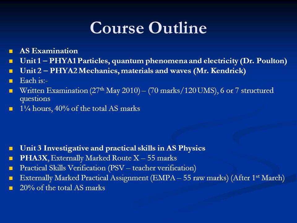 Course Outline AS Examination Unit 1 – PHYA1 Particles, quantum phenomena and electricity (Dr.