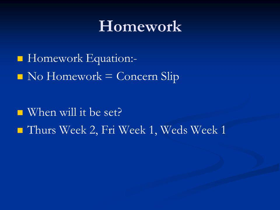 Homework Homework Equation:- No Homework = Concern Slip When will it be set.