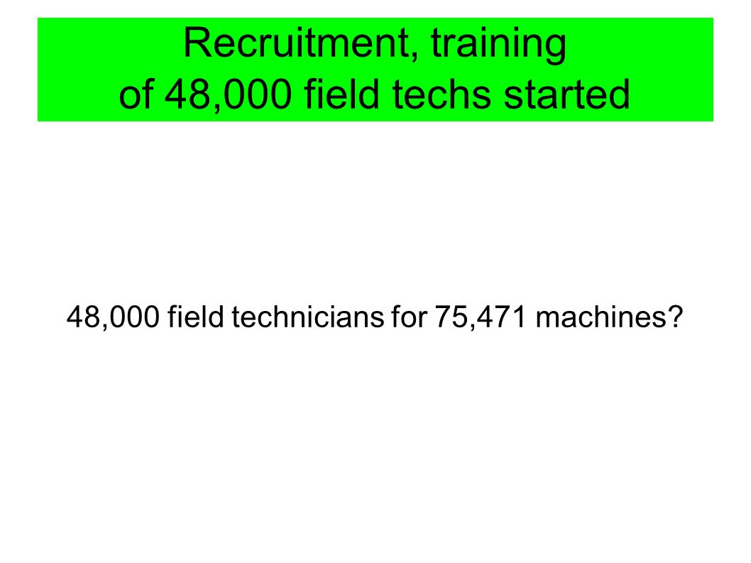 Recruitment, training of 48,000 field techs started 48,000 field technicians for 75,471 machines