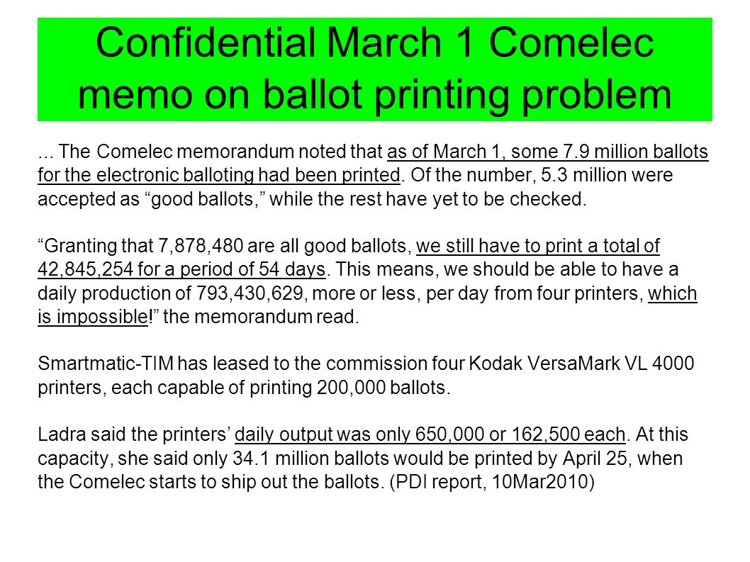 Confidential March 1 Comelec memo on ballot printing problem...