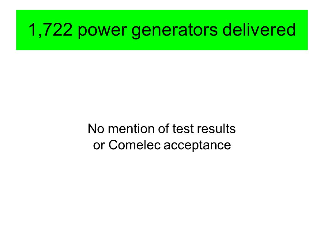 1,722 power generators delivered No mention of test results or Comelec acceptance