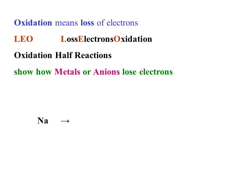 Oxidation means loss of electrons LEOLossElectronsOxidation Oxidation Half Reactions show how Metals or Anions lose electrons Na