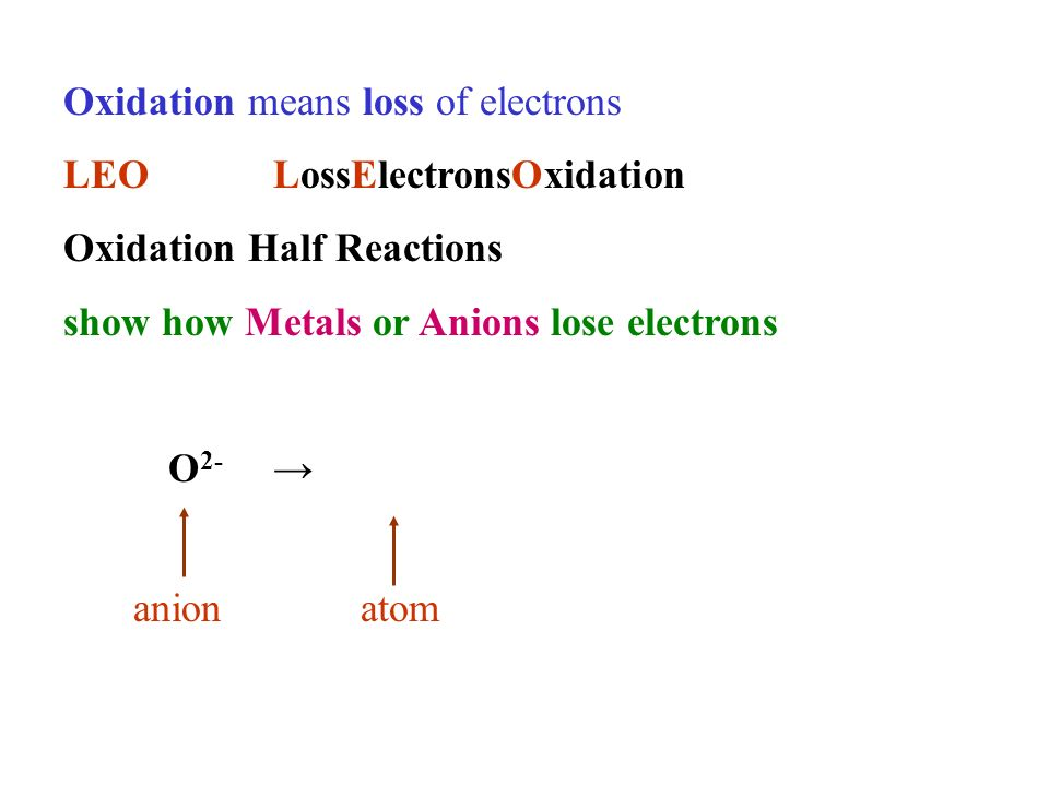 Oxidation means loss of electrons LEOLossElectronsOxidation Oxidation Half Reactions show how Metals or Anions lose electrons O 2- anionatom