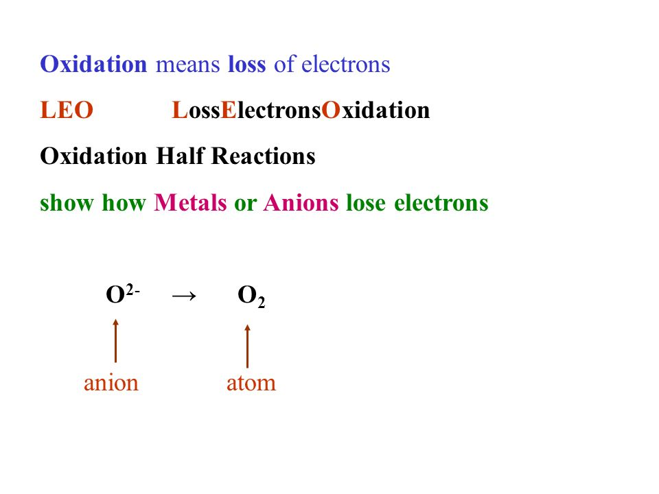 Oxidation means loss of electrons LEOLossElectronsOxidation Oxidation Half Reactions show how Metals or Anions lose electrons O 2- O 2 anionatom
