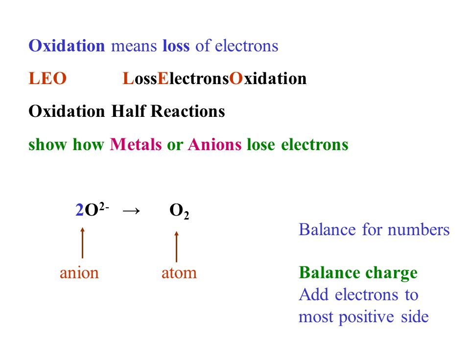 Oxidation means loss of electrons LEOLossElectronsOxidation Oxidation Half Reactions show how Metals or Anions lose electrons 2O 2- O 2 anionatom Balance for numbers Balance charge Add electrons to most positive side