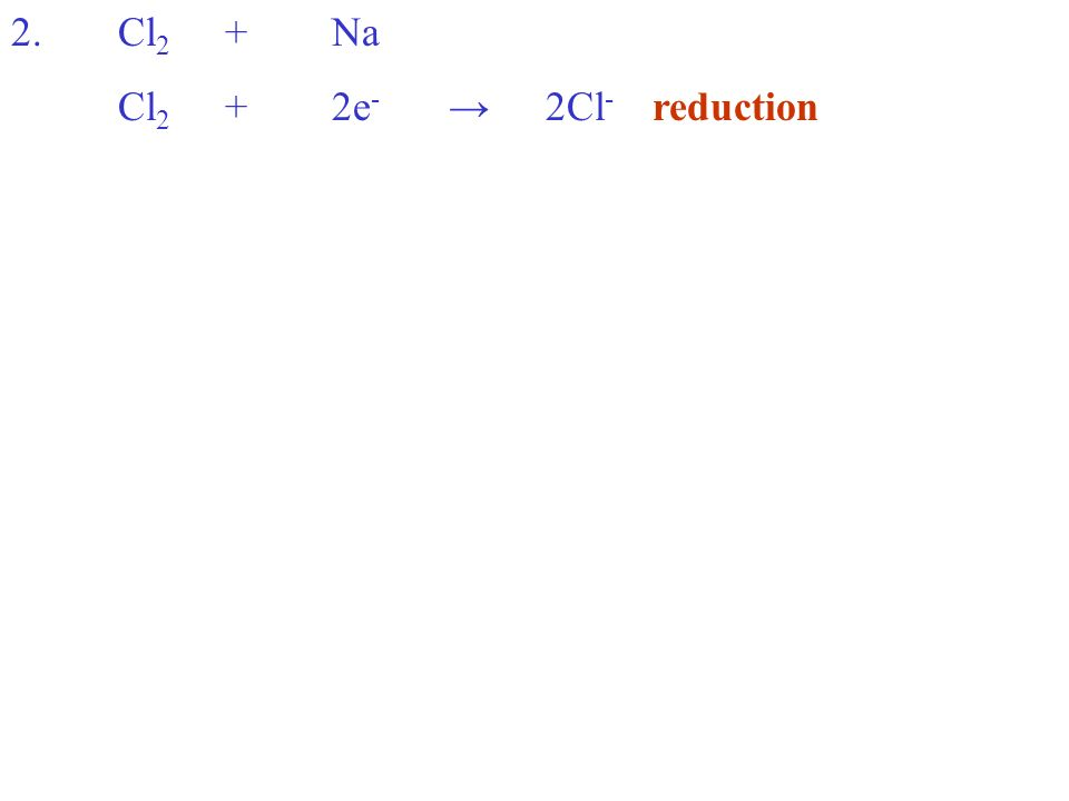 Cl 2 +2e - 2Cl - reduction