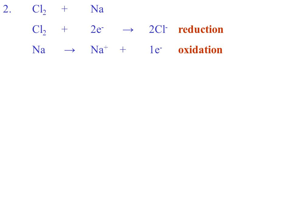 2.Cl 2 +Na Cl 2 +2e - 2Cl - reduction Na Na + +1e - oxidation