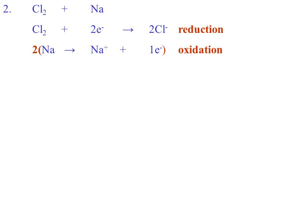 2.Cl 2 +Na Cl 2 +2e - 2Cl - reduction 2(Na Na + +1e - )oxidation