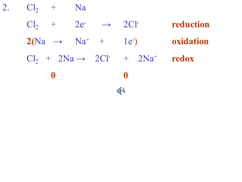 2.Cl 2 +Na Cl 2 +2e - 2Cl - reduction 2(Na Na + +1e - )oxidation Cl 2 + 2Na 2Cl - + 2Na + redox0