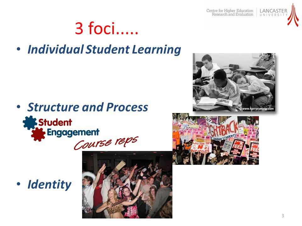 3 foci..... Individual Student Learning Structure and Process Identity 3