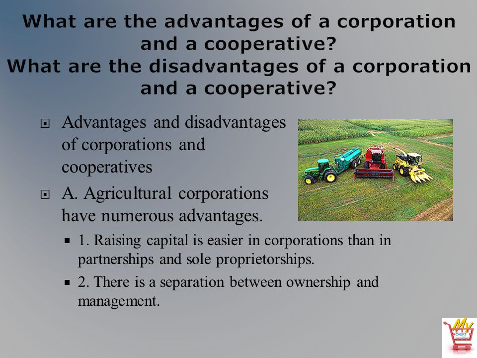 Advantages and disadvantages of corporations and cooperatives A.