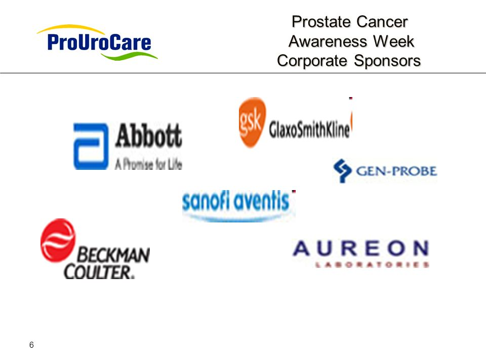 6 Prostate Cancer Awareness Week Corporate Sponsors Prostate Cancer Awareness Week Corporate Sponsors