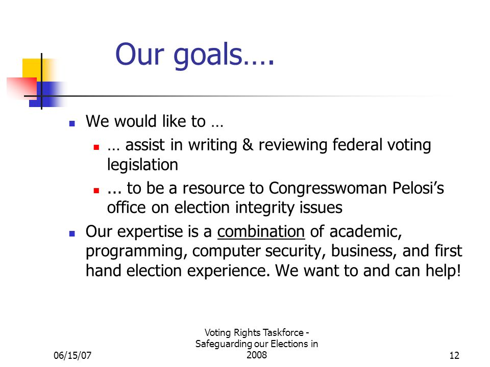 06/15/07 Voting Rights Taskforce - Safeguarding our Elections in Our goals….