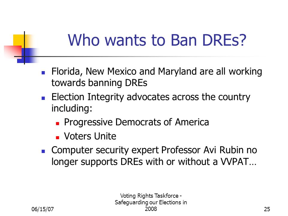 06/15/07 Voting Rights Taskforce - Safeguarding our Elections in Who wants to Ban DREs.