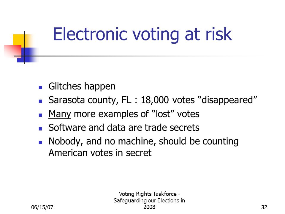 06/15/07 Voting Rights Taskforce - Safeguarding our Elections in Electronic voting at risk Glitches happen Sarasota county, FL : 18,000 votes disappeared Many more examples of lost votes Software and data are trade secrets Nobody, and no machine, should be counting American votes in secret