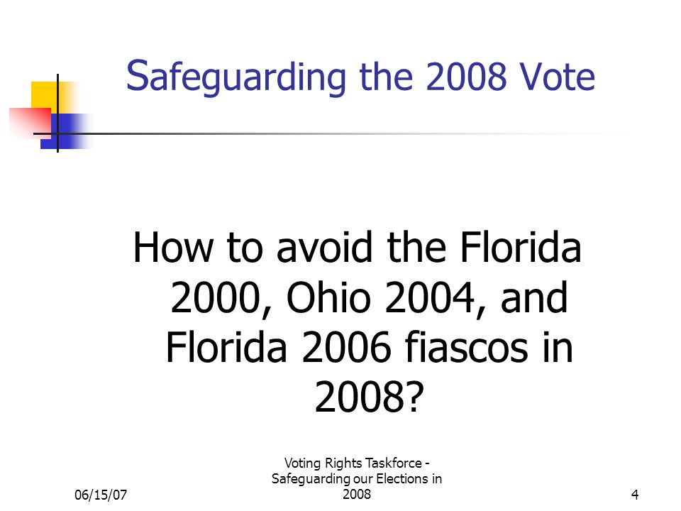 06/15/07 Voting Rights Taskforce - Safeguarding our Elections in S afeguarding the 2008 Vote How to avoid the Florida 2000, Ohio 2004, and Florida 2006 fiascos in 2008