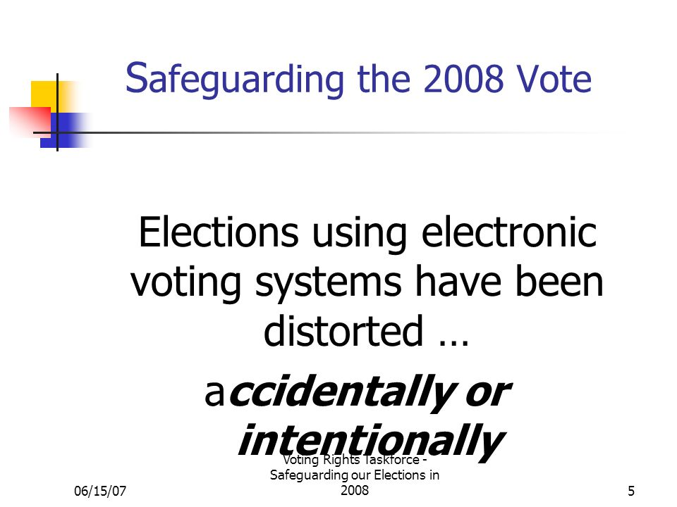 06/15/07 Voting Rights Taskforce - Safeguarding our Elections in S afeguarding the 2008 Vote Elections using electronic voting systems have been distorted … accidentally or intentionally