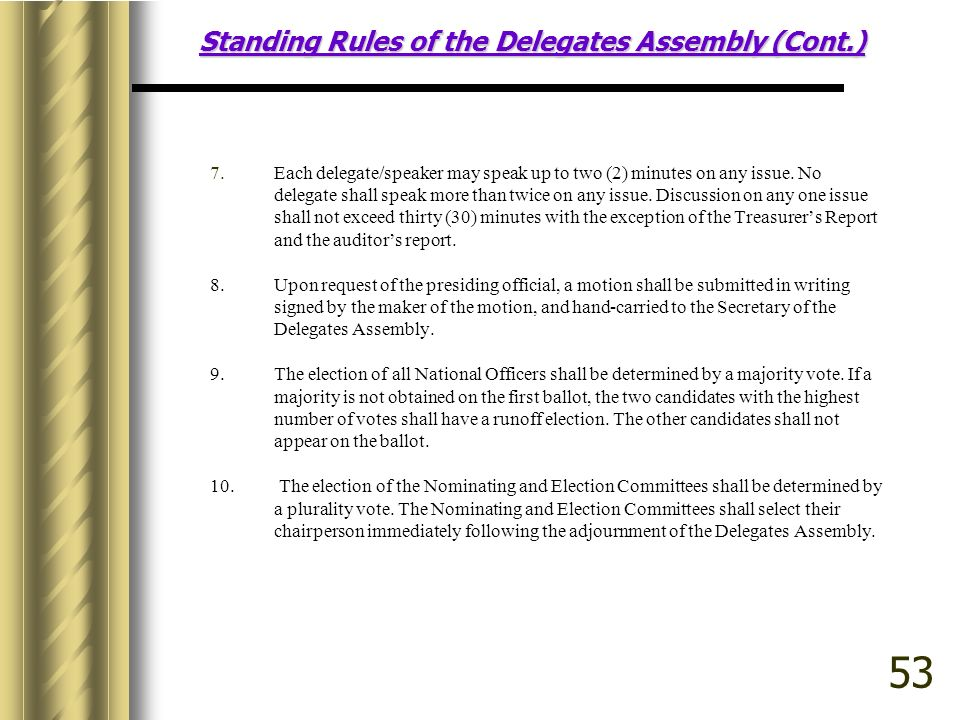 Standing Rules of the Delegates Assembly (Cont.) 7.Each delegate/speaker may speak up to two (2) minutes on any issue.