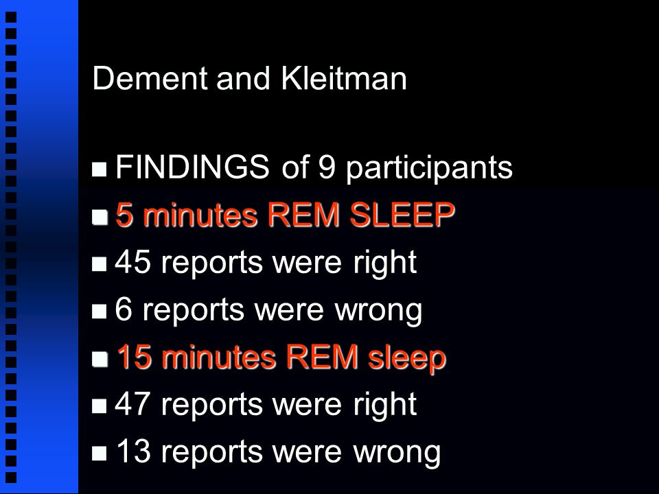 Dement and Kleitman n FINDINGS of 9 participants n 5 minutes REM SLEEP n 45 reports were right n 6 reports were wrong n 15 minutes REM sleep n 47 reports were right n 13 reports were wrong