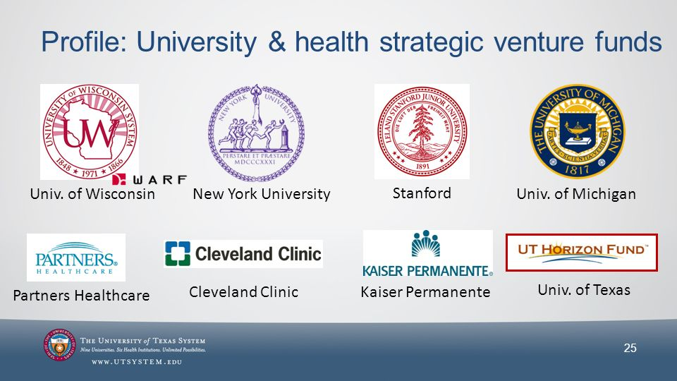 Profile: University & health strategic venture funds 25 Univ.