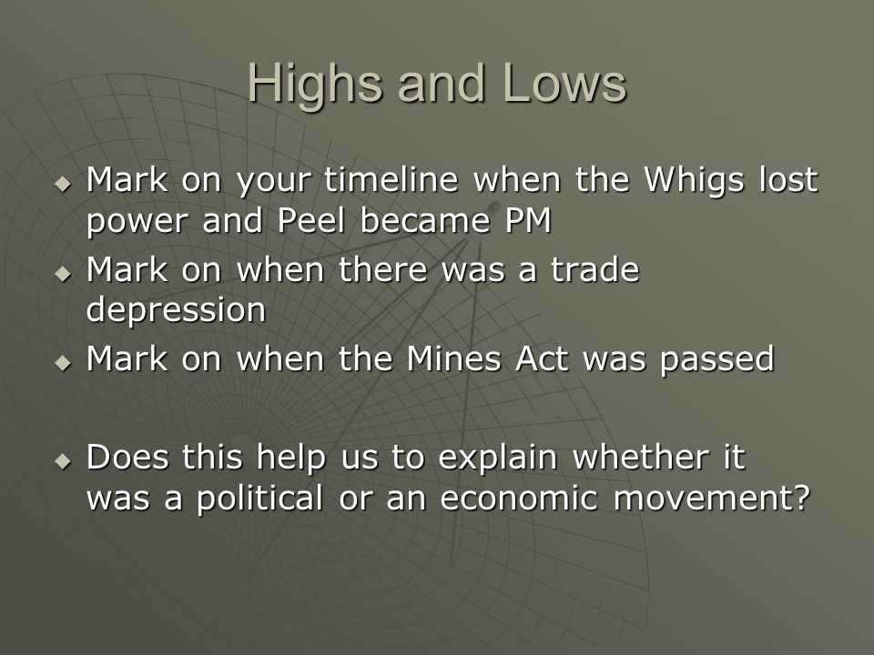 Highs and Lows Mark on your timeline when the Whigs lost power and Peel became PM Mark on your timeline when the Whigs lost power and Peel became PM Mark on when there was a trade depression Mark on when there was a trade depression Mark on when the Mines Act was passed Mark on when the Mines Act was passed Does this help us to explain whether it was a political or an economic movement.
