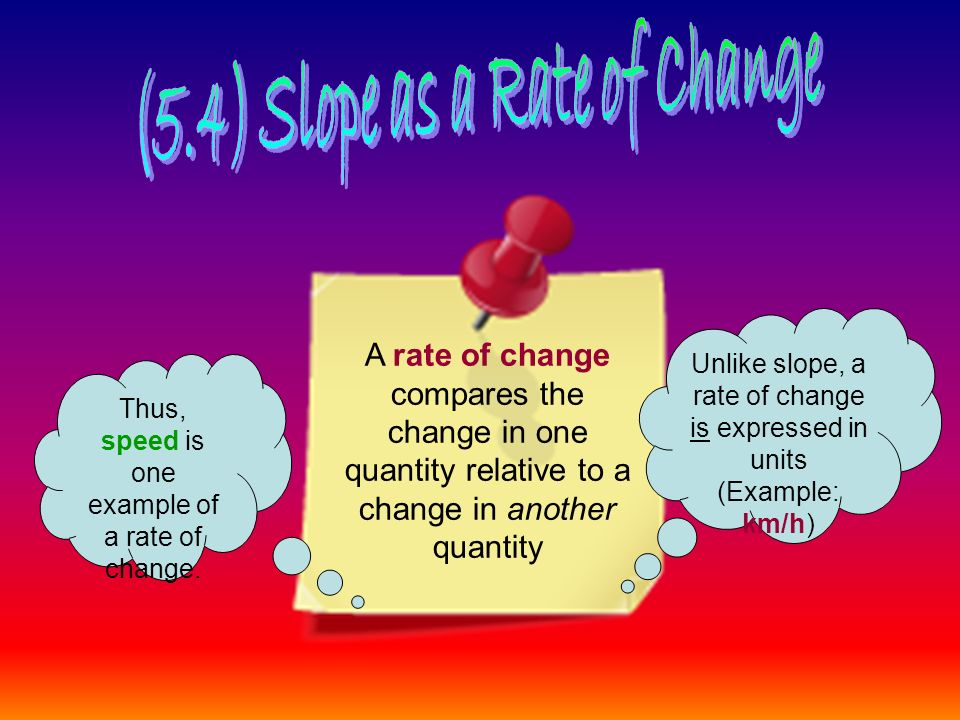 A rate of change compares the change in one quantity relative to a change in another quantity Unlike slope, a rate of change is expressed in units (Example: km/h) Thus, speed is one example of a rate of change.