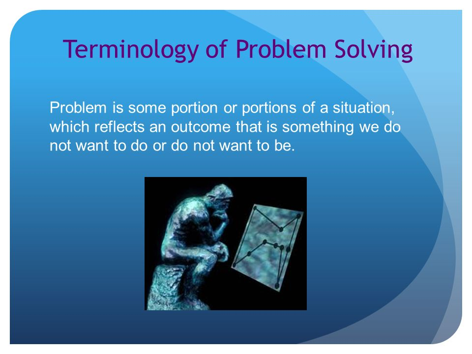 Terminology of Problem Solving Problem is some portion or portions of a situation, which reflects an outcome that is something we do not want to do or do not want to be.